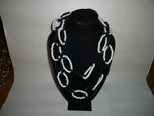 Vintage Faux Pearl Glass Black White Chain Link Design Fashion Necklace - FN0072