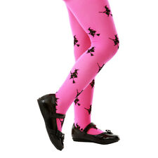 Pink Witch Print Halloween Costume Tights for Girls Kids
