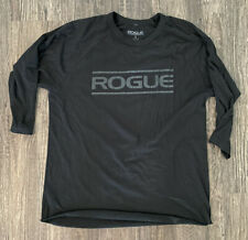 New listing Mens Rogue Fitness 3/4 Sleeve Solid Black Graphic Tee-Shirt Size Large