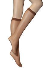 3 Pairs Womens Ladies Natural Brown Plain Knee High Nylon Socks 30 DENIER