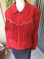 Cripple Creek Bright Red Fringed Suede Leather Western Rodeo Jacket XL X-Large