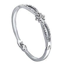 *UK* Silver Ladies flower 2 row diamante Crystal bracelet bangle GIFT