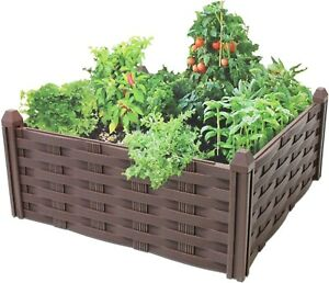 Raised Rattan Flower Bed Garden Bed Raised Vegetable Patch Large Planter