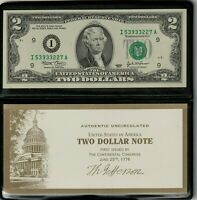 2003 $2.00 Federal Reserve Note Monetary Exchange US Currency UNCIRCULATED Gem
