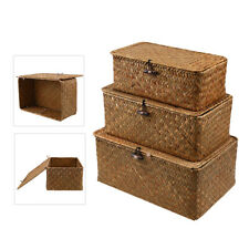 Vintage Bamboo Woven Basket 3 Piece Straw Woven Desktop Storage Box Hand-Woven