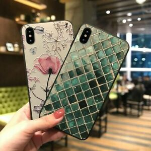 3D Embossed Green Scale Flower Phone Case Luxury Cover for iPhone 13 12 11 X XS