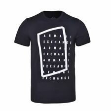 Armani Exchange A|x Wordsearch Logo Slim T Shirt Mens L Black wWhite Letters