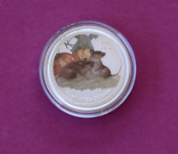 2008 1/2oz .999 Silver Lunar Mouse Coloured Bullion Coin Perth Mint