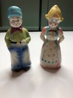VINTAGE DICKENS STYLE MAN AND WOMAN SALT & PEPPER SHAKERS MADE IN JAPAN