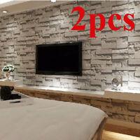 2 Rolls Wallpaper Stickers 3D Textured Brick Stone Vintage Modern Wall Paper