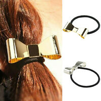 GN- Hot Punk Polish Metal Bow Tie Hair Band Cuff Wrap Pony Tail Rope Holder Head