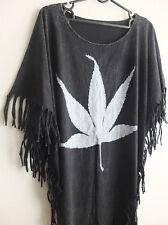 Hemp Weed Marijuana Leaf Hippie Fashion Women's Poncho Long T-Shirt Dress