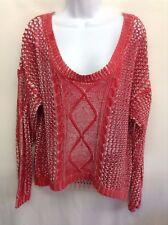 A.N.A. Women's Top Sweater Red Open Weave Long Sleeve Scoop Neck Hi Lo Hem Sz XL