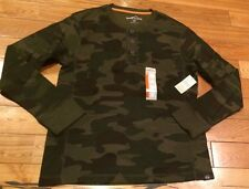 NWT Mens EDDIE BAUER Green Camo Thermal Henley L/S Button Front Shirt Sz SMALL S