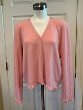 Jil Sander Pink 100% Cashmere Cardigan Sweater w/ Ruffle Trim, 8 (US) 42 (IT)