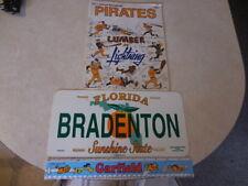 1977 Pittsburgh Pirates Official Scorebook & BRADENTON,FLA. LICENSE PLATE