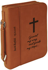 Personalized Rawhide/Black Leather Bible Book Cover Custom Engraved with Zip
