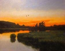 Lrg 24x20 Ducks Twilight Marsh Impressionism wetlands Landscape Art Oil Painting