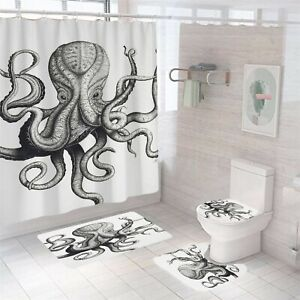 Octopus Bathroom Rug Set Shower Curtain Thick Non-Slip Toilet Lid Cover Bath Mat