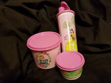TUPPERWARE 4 Disney Princesses Tumbler Canister Snack Cup Lunch Set Pink