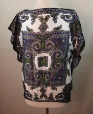 BYER Womens Blouse Peasant Top, Size M, Paisley, Dolman, Batwing Sleeves  A604