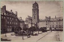 Rodez La Place Midi-Pyrénées France Vintage albumine vers 1885
