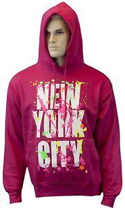 New York Paint Splash Hoodie Sweatshirt NY Splatter Hot Pink