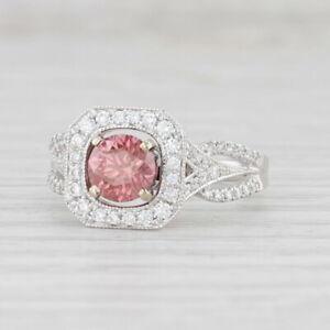 New 1.38ctw Pink White Diamond Halo Ring 14k White Gold Size 7 Engagement GIA