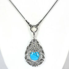 Sterling Silver 925 Genuine Turquoise & Marcasite Pendant Necklace 24 Inch