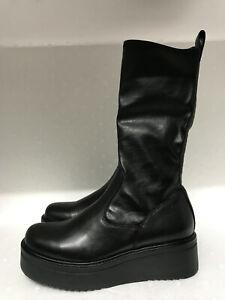 Vagabond Tara Black Leather Comb Mid-Calf Wedge Platform Sock Boots EU39 US9 *