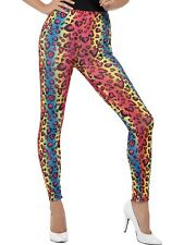 80s Neon Leopard Print Ladies Leggings Disco Costume Pants