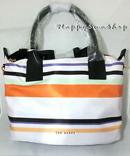 TED BAKER Shoulder Crossbody Tote Bag With Long Strap Senley Stripe Nylon