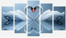 LOVE HEART SWANS ANIMALS DUCK EGG 5 SPLIT PANEL WALL ART CANVAS PICTURE PRINT