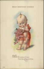 Kewpie Cute Baby in Ribbon w/ Roses c1910 Birthday Postcard