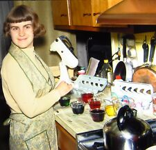 Vintage Kodachrome Color 35mm Slide Young Woman Dying Easter Eggs Kitchen 1970