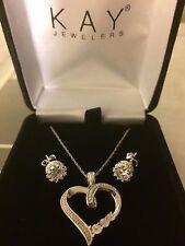 Kay Jewelers Diamond Necklace + Earrings - Perfect Open Heart Girlfriend Zales