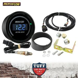 Aeroflow Digital Air Fuel Ratio Gauge Kit Black Face Dial 52mm Wideband AFR New