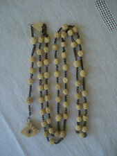 ANTIQUE ROSARY WITH HAND CARVED BEADS  C.1890