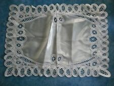 10 French silk satin Battenburg linen lace place mat tray cloth