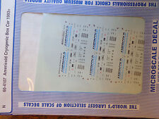 Microscale Decal N  #60-4107 Americold Cryogenic Box Car