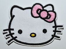 Lovely Hello Kitty Pink bow-tie Fabric Patches Iron On Embroidered Appliques