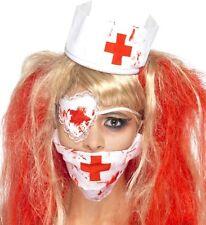 Disfraz de terror Mujer Sangriento ENFERMERA Set máscara Parche Ojo Sombrero