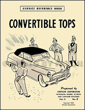 Dodge Plymouth Convertible Top Manual 1949 1950 1951 1952 Coronet Cranbrook Etc