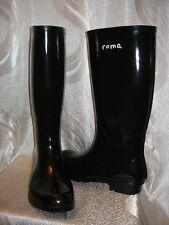 ROMA Rain Boots Women's BLACK Glossy Boots Size 9