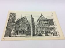 Timber Houses at HILDESHEIM - lithograph - 1883 The builder -  architect print