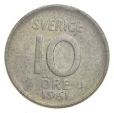 SILVER Roughly the Size of a Dime 1961 Sweden 10 Ore World Silver Coin *515