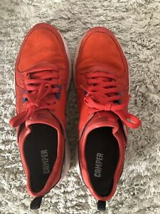 Camper Red Suede & Faux Leather Sneaker Size 41