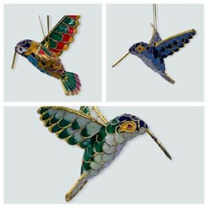 VTG Cloisonne HUMMINGBIRD Bird Hanging Ornaments National Geographic Rare In Box