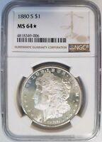 1880 S Silver Morgan Dollar NGC MS 64 Star Deep Mirrors Coin PL