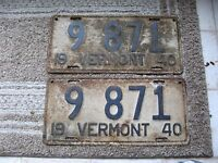 1940 40 VERMONT VT LICENSE PLATE NICE RUSTIC TAG NICE NUMBER.. BUY IT NOW PAIR